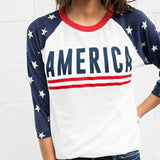 American Star Printed Three Quarter Sleeve Tee