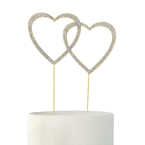 Crystal Rhinestone Double Heart Cake Topper