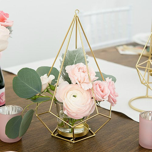Gold Geometric Candle Holder Vase