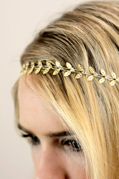 Bridal Gold Leaf Halo Crown