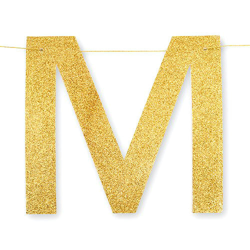Mr. and Mrs. Gold Glitter Banner