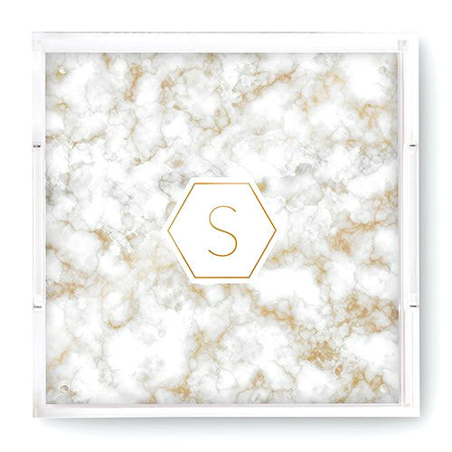 Monogrammed Marble Foil Tray