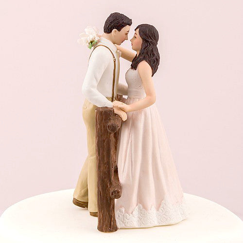 Rustic Bride and Groom Wedding Cake Topper