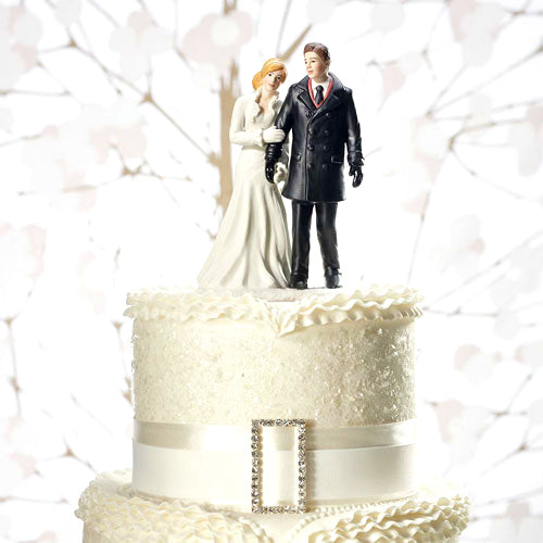 Winter Wedding Couple Cake Topper