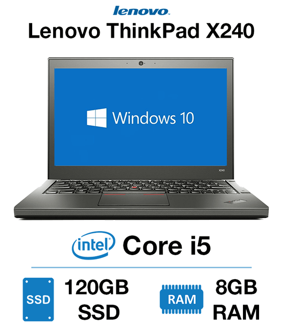 Lenovo ThinkPad X240 12.5'' Ultrabook |  Intel® Core™i5-4300U (4th Gen) , 8GB RAM, 128GB SSD, Intel HD Graphics 4400, Windows 10 Pro, Grade A | 1 Year Warranty