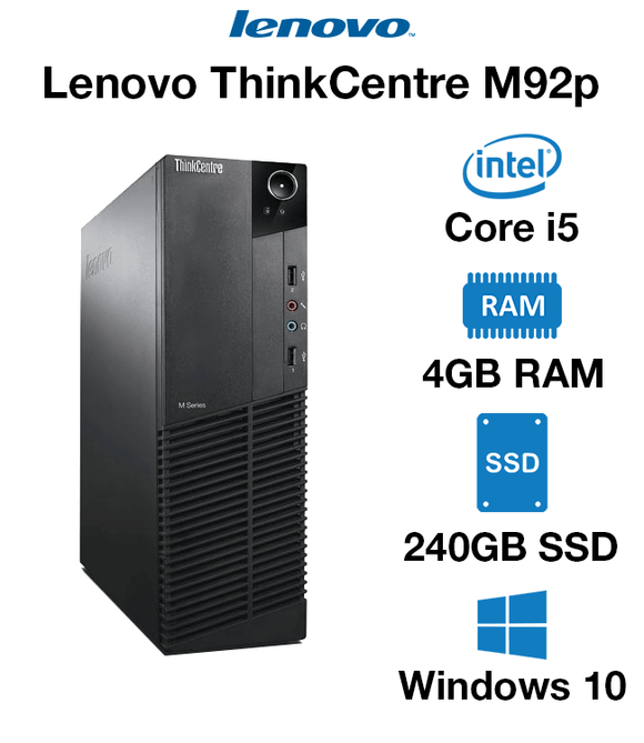 Lenovo ThinkCentre M92P (SFF) Desktop | Intel Core i5-3470 @ 3.20GHz (Quad-Core), 4GB RAM, 128GB SSD or 256GB SSD | USB Wi-Fi, Keyboard & Mouse, USB 3.0 , VGA, DisplayPort, Gigabit Ethernet | Windows 10 Pro x64 - 1 Year Warranty | Small Form Factor