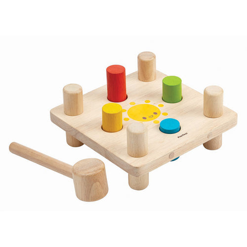 Plan Toys Learning Toys 4-Hole Wooden Hammer Peg Set - 12+ months