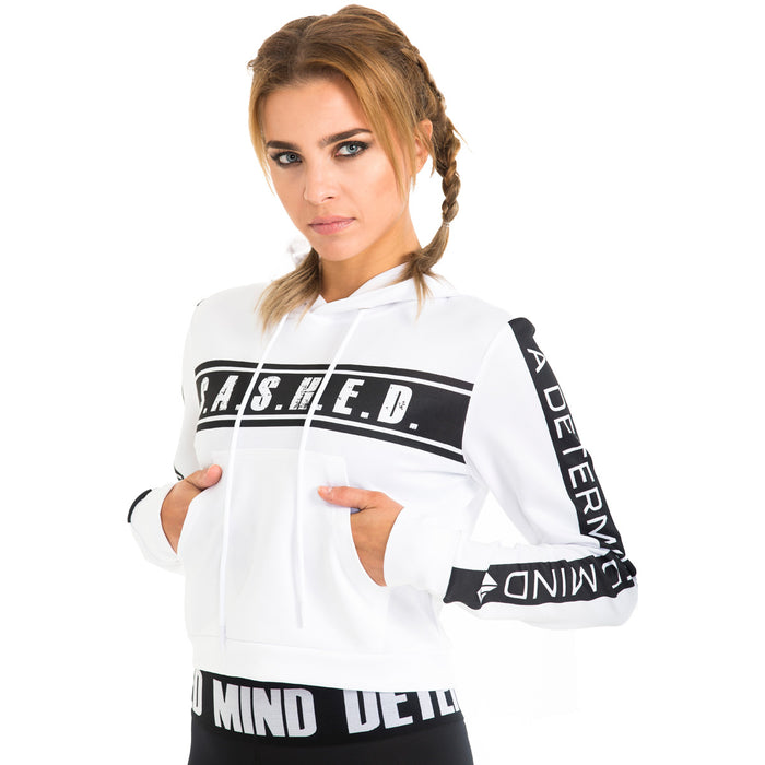 White Out Excuses Womens Crop Hoodie