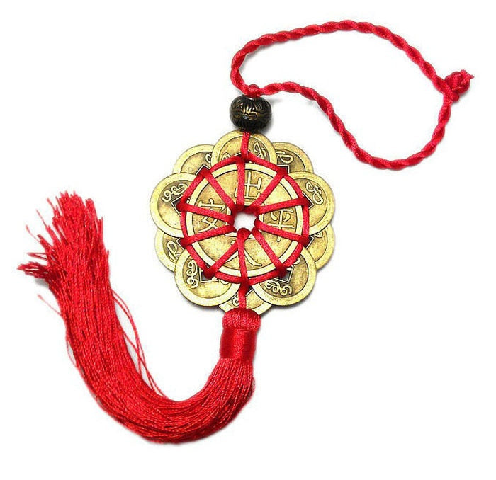Prosperity Protection Good Fortune 10 Lucky Charm Red Chinese Knot FENG SHUI Set.