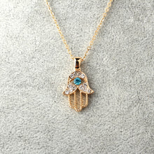 Turkish Crystal Hand Hamsa Pendant Necklace. Popular good luck symbol worldwide.