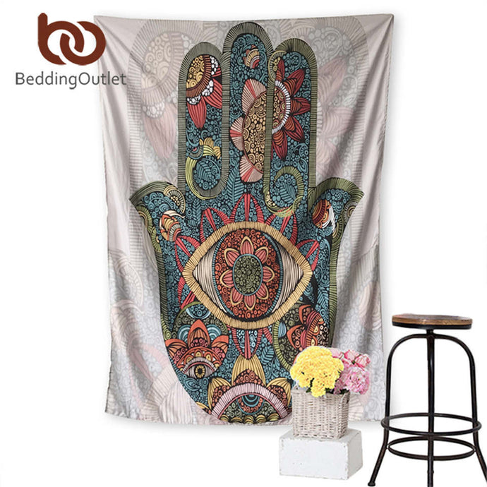 Hamsa Hand Tapestry Wall Hanging 2 Sizes. Good luck symbols worldwide. FREE SHIPPING