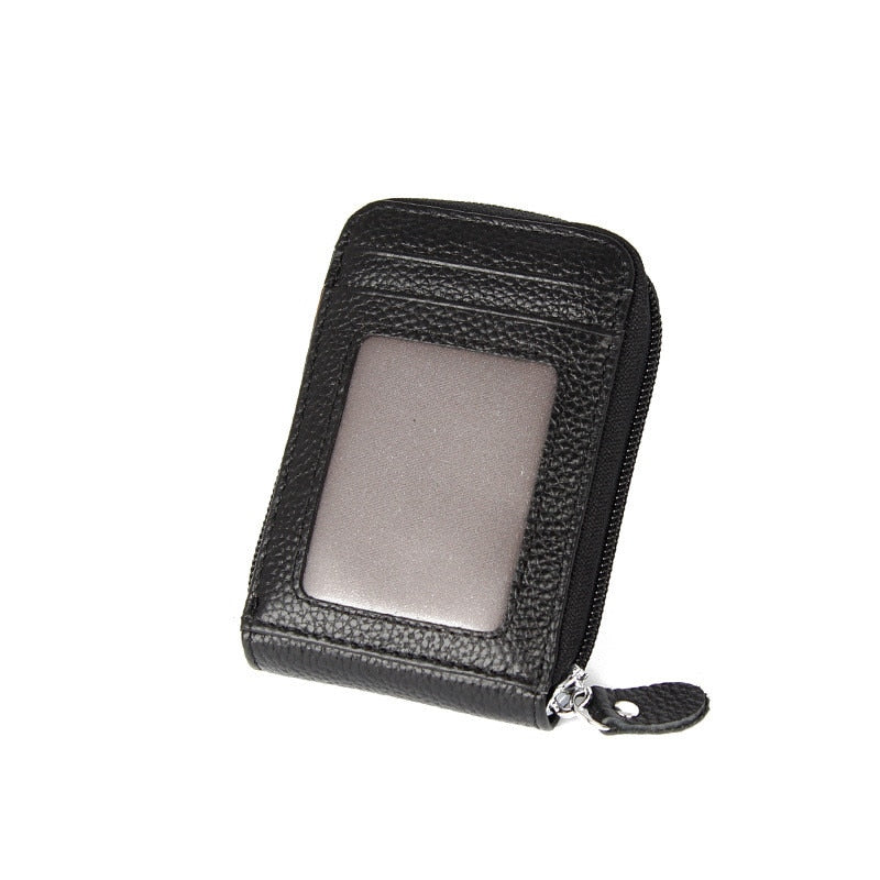 Genuine Leather Unisex Business Card Holder Wallet Bank Credit Card Case ID Holders Rfid Wallet Red Purple Pink Blue Black Gray