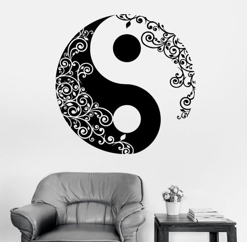 Yin Yang Floral Yoga Meditation Vinyl Decal Mural Wall Art.  FREE SHIPPING