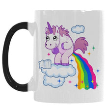 Unicorn Magic Mug changes to cartoon scene when hot.