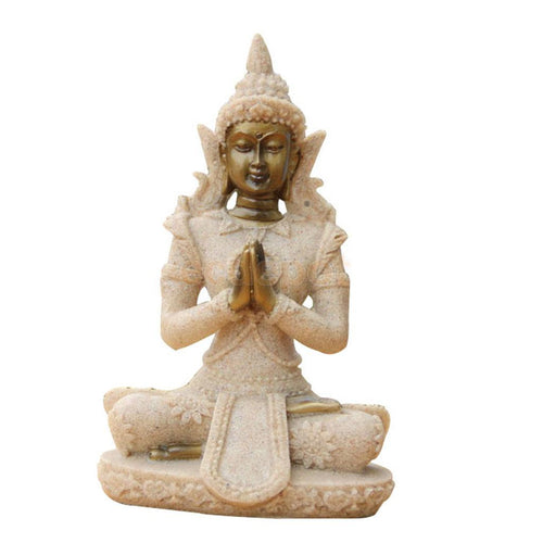 Sand Stone Meditation Buddha Statue.  Hand Carved and is said to bring Wealth and Luck. FREE SHIPPING