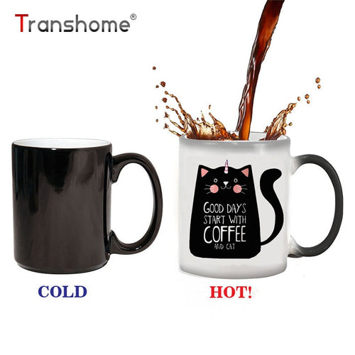 Cat Mugs 300ml Cute Birthday Gift. Heat changing Mug.