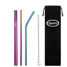 UPORS 5pcs Eco Friendly Reusable Straw 304 Stainless Steel Straw Metal Smoothies Drinking Straws Set with Brush & Bag Wholesale