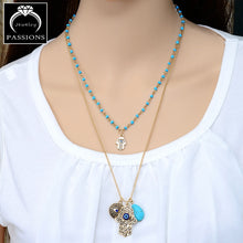 Vintage Bohemia Double Layer Necklace Hamsa Hand. Good luck and protection.