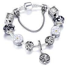 Charm Bracelet with Tree of life Pendant & Gold Crystal Ball