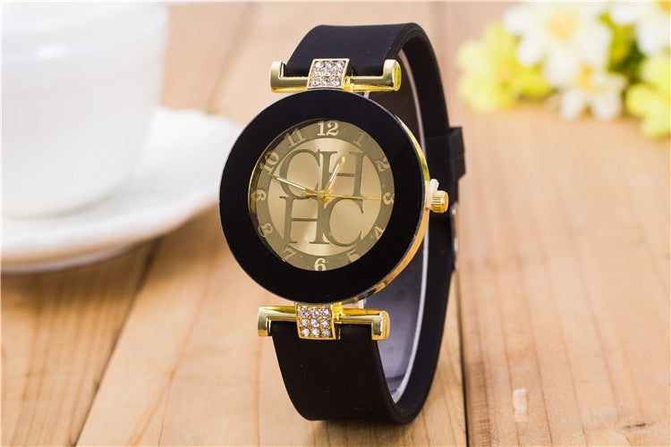 Ladies Designer Watches Luxury Brand Quality Rhinestone Gold Charm Bracelet