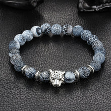 Have it now! Antique Silver Plated Leopard head Bracelet Lava Natural Stone. FREE SHIPPING