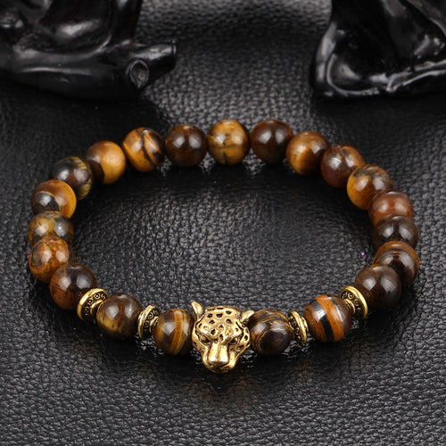 STUNNING Gold Leopard Head Tiger Eye Bead Buddha Bracelet. FREE SHIPPING