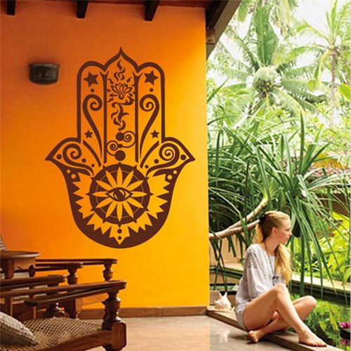 Mandala Indian Hamsa Hand in Vinyl. FREE SHIPPING