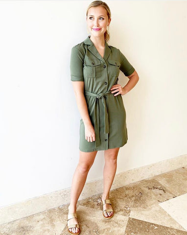 Jadallah Dress - Army Green