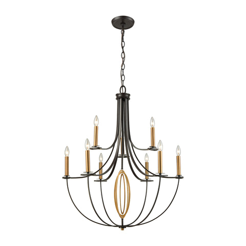 Bronze chandeliers gulf southern luminescence dione 9 light chandelier in oil rubbed bronze with brushed antique brass accents by elk lighting aloadofball Gallery