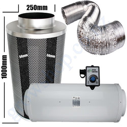 Kit Carbon Filter 250mm x 1000mm, 10 Metre Ducting & Silenced 250mm EC Fan speed adjustable