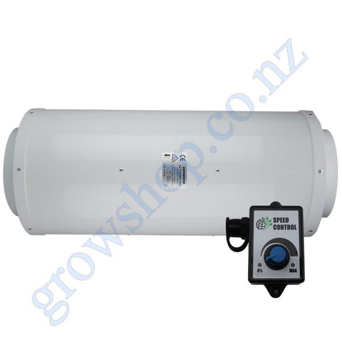 250mm Silenced EC Mixed Flow Fan c/w Speed controller - 1808 Cubic Metres Per Hour