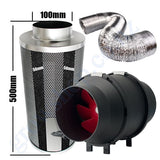 Kit Carbon Filter 100mm x 500mm, 10 Metre Ducting & 100mm Inline Plastic Tube Fan