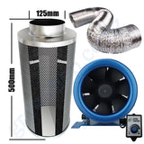 Kit Carbon Filter 125mm x 500mm, 10 Metre Ducting & 125mm EC Fan speed adjustable