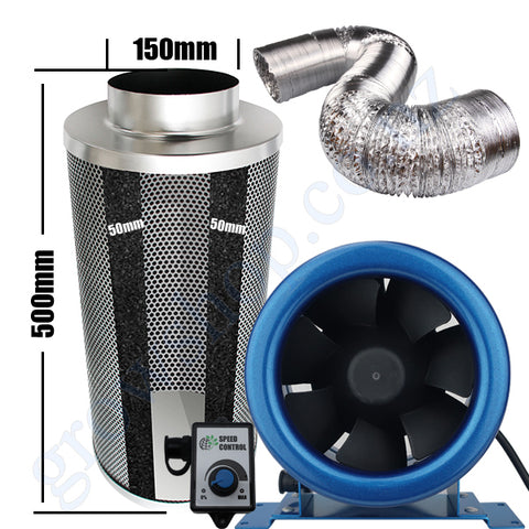 Kit Carbon Filter 150mm x 500mm, 10 Metre Ducting & 150mm EC Fan speed adjustable