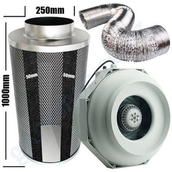 Kit Carbon Filter 250mm x 1000mm, 10 Metre Ducting & 250mm Centrifugal Plastic RKW Temp & Speed adjustable