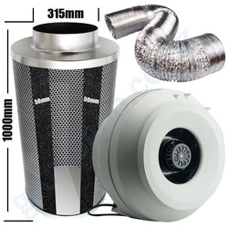 Kit Carbon Filter 315mm x 1000mm, 10 Metre Ducting & 315mm Centrifugal Plastic Fan
