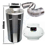 Kit Carbon Filter 200mm x 600mm, 10 Metre Ducting & 200mm Centrifugal Plastic Fan