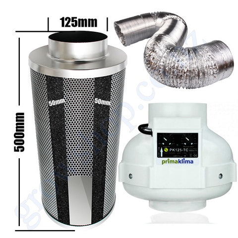 Kit Carbon Filter 125mm x 500mm, 10 Metre Ducting & PK125TC 125mm Centrifugal Temp & Speed