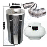 Kit Carbon Filter 200mm x 1000mm, 10 Metre Ducting & 200mm Centrifugal Plastic Fan
