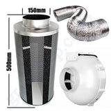 Kit Carbon Filter 150mm x 500mm, 10 Metre Ducting & 150mm Centrifugal Plastic Fan