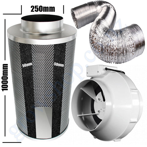 Kit Carbon Filter 250mm x 1000mm, 10 Metre Ducting & 250mm Centrifugal Plastic Fan