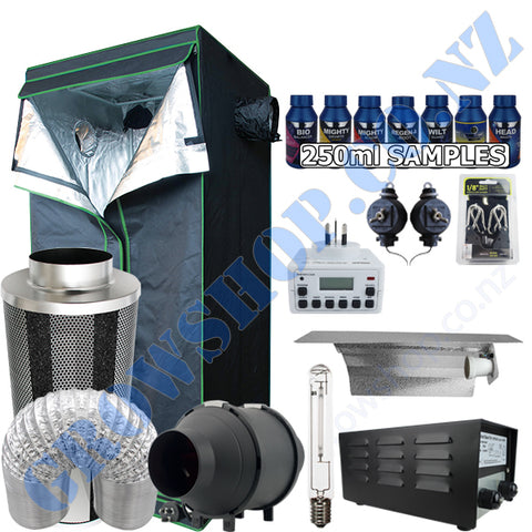 Grow Tent Starter 800 x 1800mm Kit - 400w Light Set - 100mm Fan & Carbon