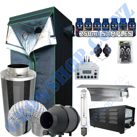 Grow Tent Starter 600 x 1600mm Kit - 250w Light Set - 100mm Fan & Carbon