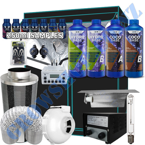 Grow Tent Starter Kit 1.2 Metre - 600w Light Set - 150mm Fan & Carbon