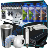 Grow Tent Starter Kit 1.4 Metre - GHP Digital 600w Light Set - 150mm Fan & Carbon