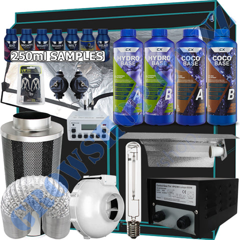 Grow Tent Starter Kit 2 Metre - 600w Light Set - 150mm Fan & Carbon