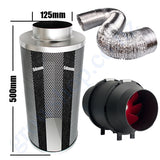 Kit Carbon Filter 125mm x 500mm, 10 Metre Ducting & 125mm Inline Plastic Tube Fan