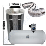 Kit Carbon Filter 150mm x 1000mm, 10 Metre Ducting & Silenced 150mm EC Fan speed adjustable