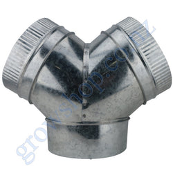 3 way Y Duct Connector 200mm Galv steel