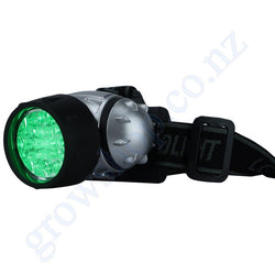 Torch - Headlight Grow Room Green 19 LED c/w 3 x AAA Alkaline Varta Batteries